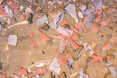 Destroyed texture- old acrylic paint. Crackle surface- abstract pattern Stock Photo