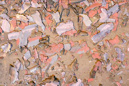 Destroyed texture- old acrylic paint. Crackle surface- abstract pattern Banco de Imagens