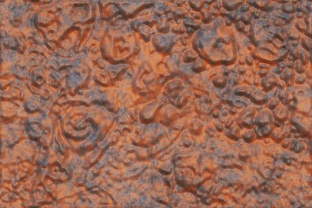 Distressed panels- copper metal texture background. Abstract design. Rusty iron-  industrial vintage, corrosion blank. Pattern crack- material weathered. 3D rendering illustration Imagens