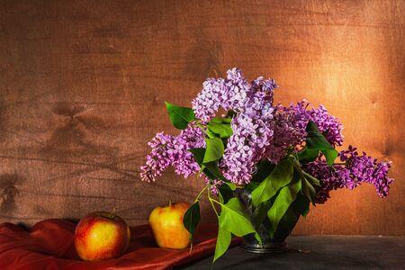Still life- bouquet lilac. Spring- blossom season. Reklamní fotografie - 125332312