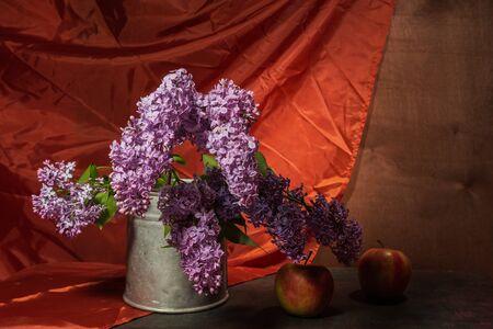 Still life- bouquet lilac. Spring- blossom season. Reklamní fotografie - 125332906