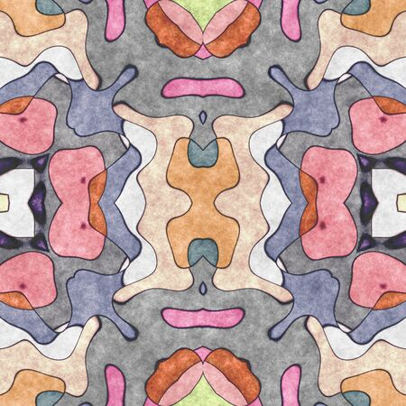 Seamless shape- napkin pattern. Ornamental fantasy- top view. Decoration mosaic- design blank. Digital 2D illustration created without reference image