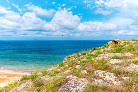 Crimea. Azov sea- nature landscape. Scenery background- vacation destinations
