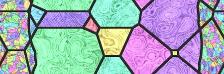 Stained glass wall. Art mosaic- tile glaze bathroom. Home architecture decor- abstract background. Geometric pattern- room interior. 3d illustration Stok Fotoğraf