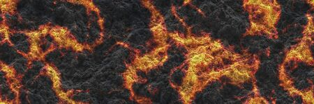Large file volcanoes. Background lava- seamless hot texture. Danger terrain heat- 3d illustration fluid metal. Burning coals- crack surface magma. Abstract nature pattern- glow faded flame.