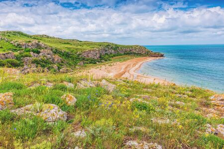 Crimea. Azov sea- nature landscape. Scenery background- vacation destinations