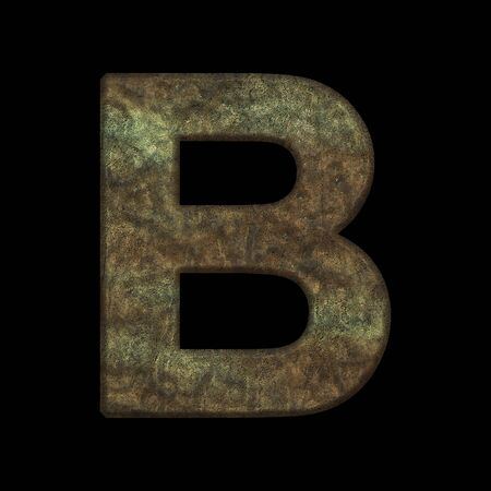 Alphabetic character from metal- 3d illustration. Letter collection- design text. Banco de Imagens