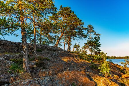 Travel to Russia. Ladoga skerries- hiking on the lake. Nature landscape- national park