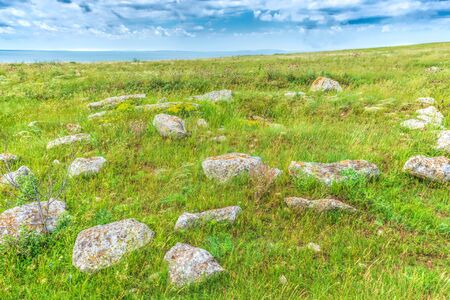 Ancient burial place. Sights of Crimea - lush vegetation, steppe zone in the spring. Landscape park- Kerch peninsula Stock fotó