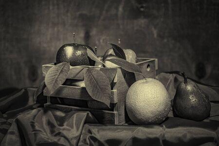 Fruit still life- food art. Traditional meal