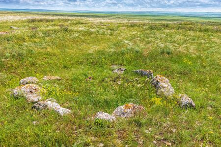 Ancient burial place. Sights of Crimea - lush vegetation, steppe zone in the spring. Landscape park- Kerch peninsula