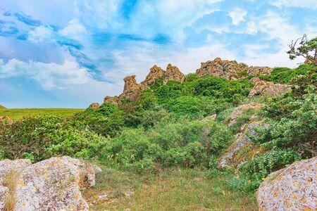 Sights of Crimea - lush vegetation, steppe zone in the spring. Landscape park- Kerch peninsula Reklamní fotografie