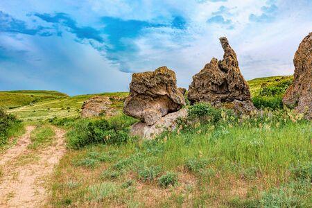Nature reserve - the road to travel. Hiking historical places Crimea. Landscape park- Kerch peninsula