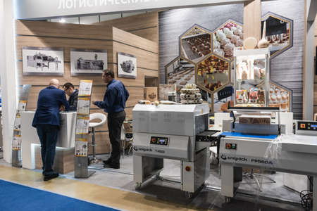 Moscow, Russia - January 29, 2019: International specialized exhibition of plastics and rubbers. Expo products manufacturing and recycling Editorial