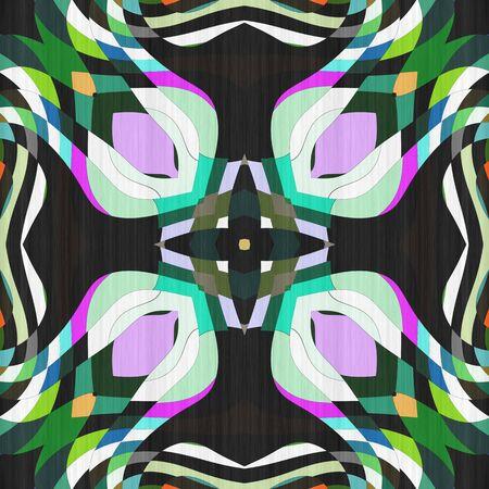 Abstract design decoration- kaleidoscope seamless. Pattern background- ornament mosaic. Mandala- art texture illustration.  Futuristic ornate- fantasy, psychedelic crystal