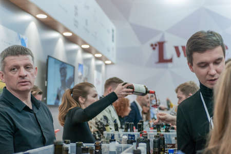 MOSCOW, RUSSIA - FEBRUARY 10-14: PRODEXPO 2020.27th International Exhibition for Food, Beverages, display Raw Materials. Show stand business