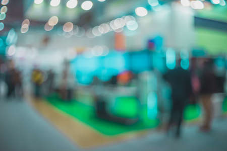 Exhibition abstract- background blur. Blurred- bokeh lights. Expo business- booth stand