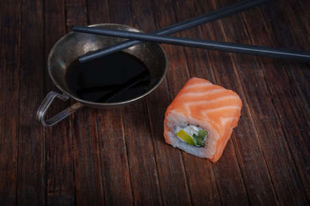 Sushi- delicious food. Dark style- low key photography