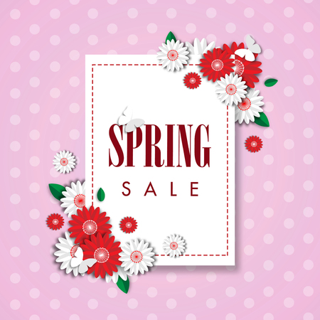 Spring sale background with beautiful flower, vector illustration template