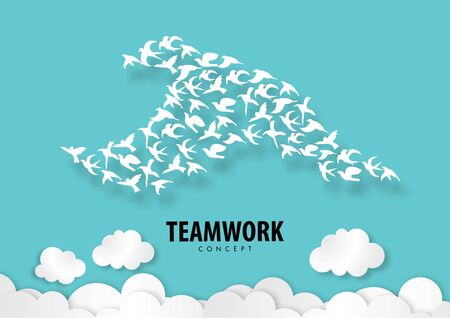 Teamwork concept with paper art, abstract, bird, icon paper cut style vector