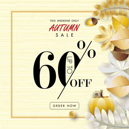 autumn sale banner background, sixty percent sale off with golden leaf on wood texture vector or illustration