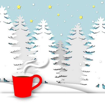 Winter season background with red coffee cup and paper art design vector and illustration Stock Illustratie