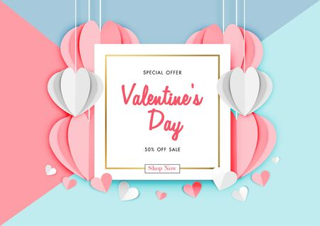 Valentine's day sale background with paper art of origami heart shape, vector illustration template, banners, Wallpaper, invitation, posters, brochure, voucher discount. Archivio Fotografico - 129772802