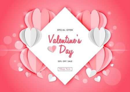 Valentine's day sale background with paper art of origami heart shape, vector illustration template, banners, Wallpaper, invitation, posters, brochure, voucher discount. Archivio Fotografico - 129772453