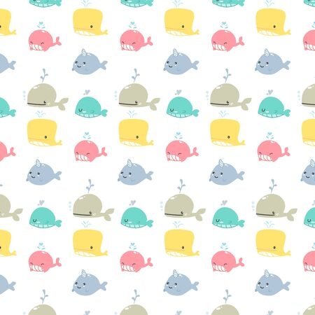 Cute vector of aquarium animals pattern cartoon design  for girl and boy background vector