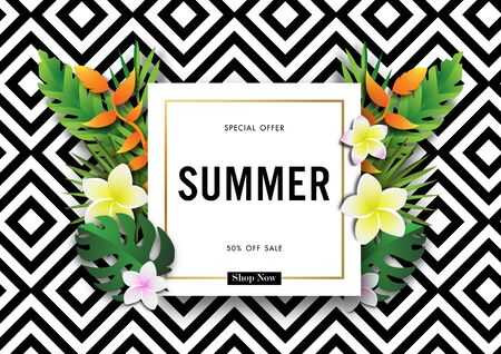 Summer sale background with paper art of tropical, vector illustration template, banners, Wallpaper, invitation, posters, brochure, voucher discount Archivio Fotografico - 129772501
