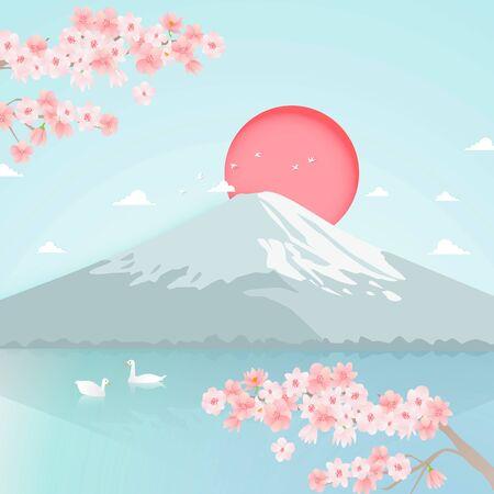 paper art of japan landmark travel banner with mountain and cherry blossom flower background vector Illustration