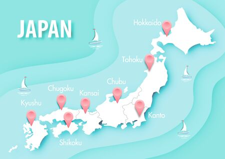 Paper art of Japan map with 3D style on blue ocean pastel color background vector