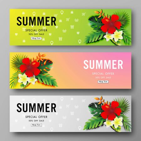 Summer sale background with paper art of tropical, vector illustration template, banners, Wallpaper, invitation, posters, brochure, voucher discount