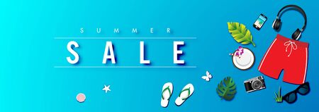 Summer sale background with paper art of summer accessories, vector illustration template, banners, Wallpaper, invitation, posters, brochure, voucher discount. Illustration