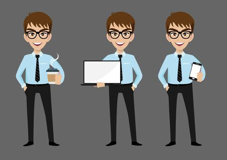 Businessman cartoon character, set of three poses. Handsome business man in office style clothes holding mobilephone, laptop and holding coffee. Vector illustration