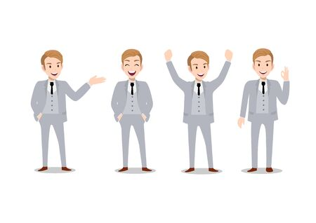 Businessman cartoon character, set of four poses. Handsome business man in office style smart suit. Vector illustration