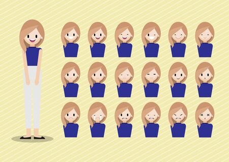 Cartoon character with girl head vector set. pretty lady face with many emotions. Flat vector