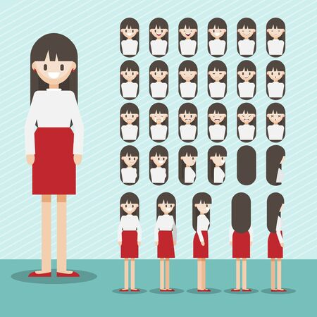 Cartoon character with girl head vector set. pretty lady face with many emotions. Flat vector Foto de archivo - 129169528