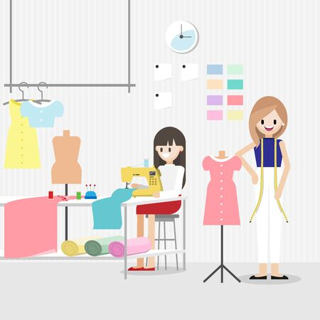Cartoon character with fashion designer job in fashion or sewing studio room horizontal banner. Tailor shop concept. Flat vector illustration.