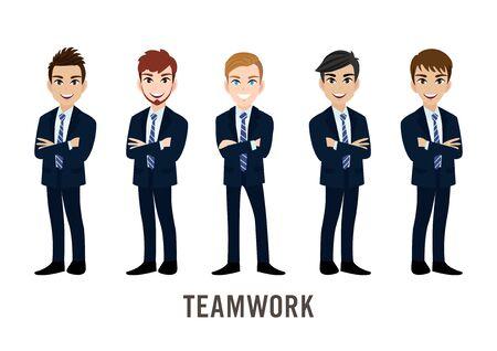 Personaggio dei cartoni animati con uomo d'affari, concetto di lavoro di squadra. Illustrazione vettoriale piatto.