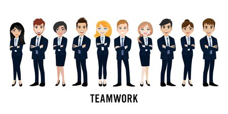 Cartoon character with business man and business woman, teamwork concept design. Flat vector illustration.