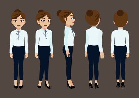 Cartoon character with business woman for animation. Front, side, back, 3-4 view character. Flat vector illustration. Foto de archivo - 129173523
