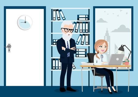 Business people group, boss and staff or workers in office background vector illustration in cartoon character style.