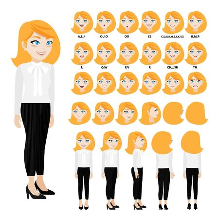 Cartoon character with business woman in casual wear for animation. Front, side, back, 3-4 view character. Separate parts of body. Flat vector illustration.