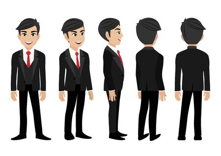 Personaje de dibujos animados con hombre de negocios. Carácter animado de vista frontal, lateral, posterior, 3-4. Ilustración de vector plano.