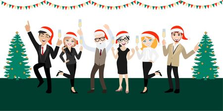 Happy party group of business people with cartoon character , merry christmas and happy new year design vector