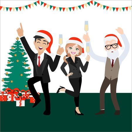 Happy party group of business people with cartoon character , merry christmas and happy new year design vector Stock Vector - 129771998