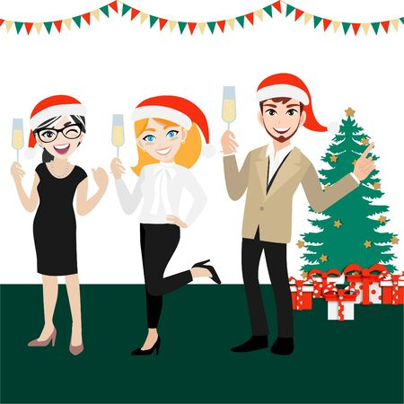 Happy party group of business people with cartoon character, merry christmas and happy new year design vector Illustration