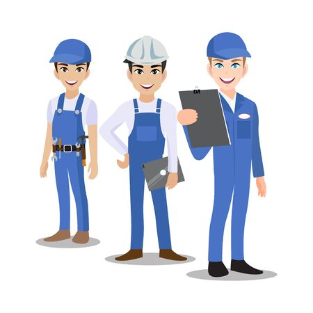 Engineer, technician, builders and mechanics people teamwork cartoon character or flat icon style. Vector illustration Ilustrace