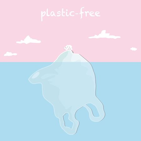 Ocean pollution vector illustration. Plastic-free with a white bear standing on a plastic bag in a blue ocean and pink sky background